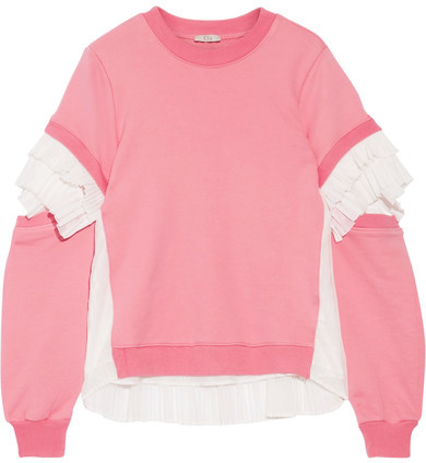 Clu CLU - Plissé Tulle-paneled French Cotton-terry Sweatshirt - Pink