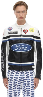 Versace Ford Logo Leather Motocross Jacket