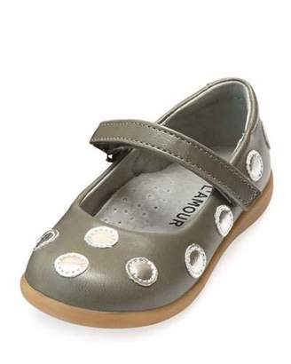 L'Amour Shoes Mara Metallic Polka-Dot Leather Mary Jane, Size Baby/Toddler/Kids