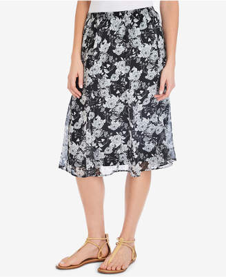 NY Collection Floral-Print A-Line Skirt