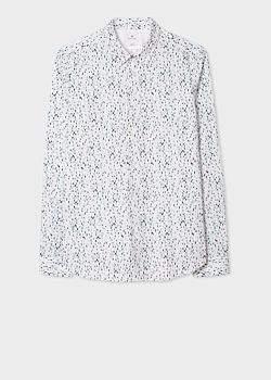 dd3401f465 Men's Slim-Fit White 'Paint Marks' Print Stretch-Cotton Shirt