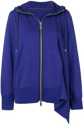 Sacai asymmetric zip front hoodie
