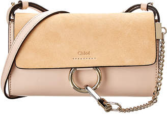 Chloé Faye Leather & Suede Wallet On Strap