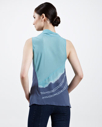 Donna Karan Cascading Tie-Dye Scarf Top, Aquamint