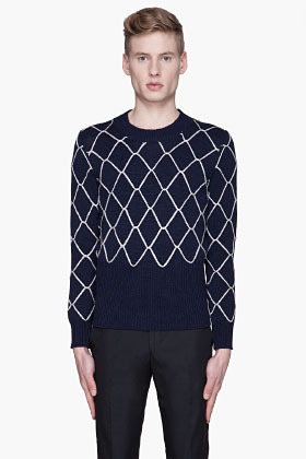 Raf Simons Navy and silver chain link sweater