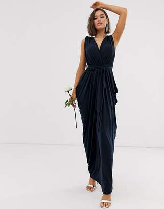 Club L London slinky cowl back bridesmaid maxi dress