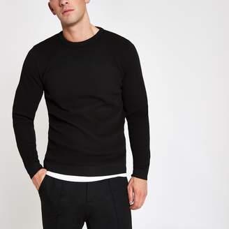 383f9b5802e River Island Mens Black textured knit slim fit jumper