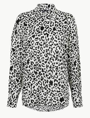 Marks and Spencer Oversized Satin Animal Print Shirt