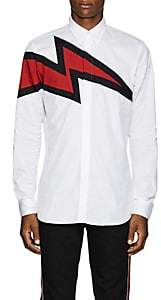 Givenchy Men's Lightning-Bolt Cotton Poplin Shirt - White
