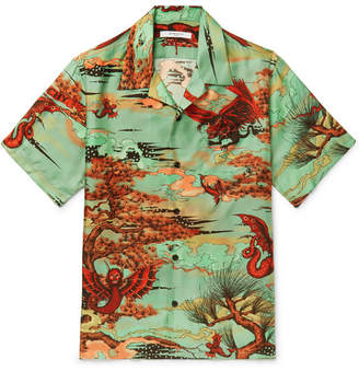 Givenchy Camp-Collar Printed Silk-Satin Shirt