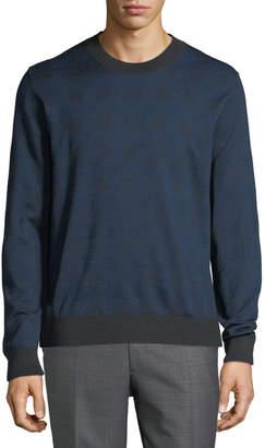 Brioni Men's Crewneck Plaid Knit Silk/Wool Sweater