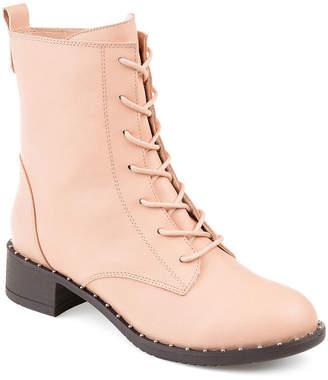 Journee Collection Womens Combat Stacked Heel Zip Boots