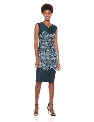 ECI New York Women's Cap Sleeve Floral Detail Puff Scuba Printed midi Dress