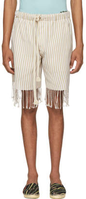 Loewe Beige and White Paulas Ibiza Edition Striped Shorts