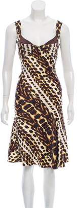 Just Cavalli Sleeveless Printed Midi Dress