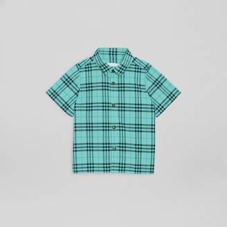 Burberry Short-sleeve Check Cotton Shirt , Size: 14Y, Green