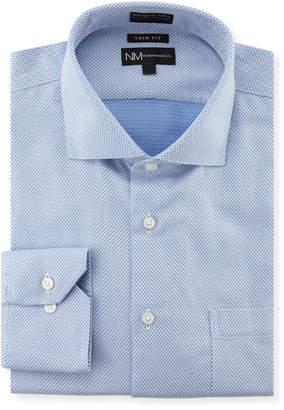 Neiman Marcus Trim-Fit Wrinkle-Free Dobby Dress Shirt, Light Blue