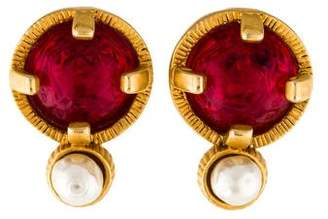 Chanel Faux Pearl & Resin Clip-On Earrings