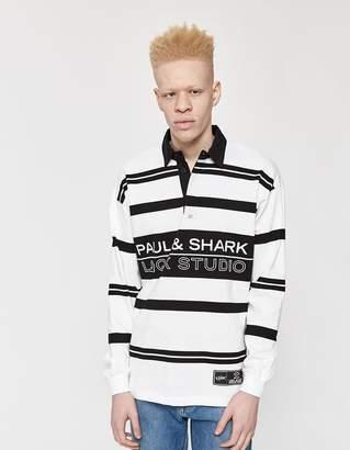 Paul & Shark X Lqqk Studios LQQK Studios Rugby Polo Shirt in White/Black