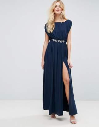 Asos Design Embellished Waist Maxi Dress