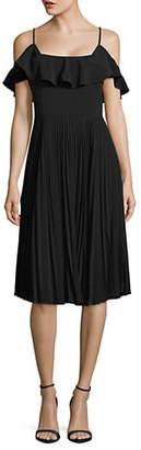 Halston H Sleeveless Pleat Midi Dress