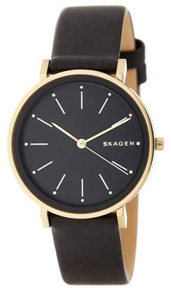 Skagen SKW2511 Gold Tone Stainless Steel & Leather Black Dial Quartz 34mm Women's Watch