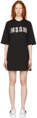 MSGM Black Rhinestone T-Shirt Dress