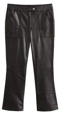 MANGO Flared leather trousers