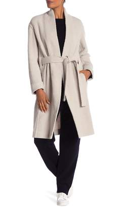 Vince Stand Collar Belted Wool Blend Coat