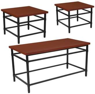 Granada Hills Collection Flash Furniture 3 Piece Coffee and End Table Set in Norway Cherry Inlaid Wood Grain Finish and Black Metal Legs