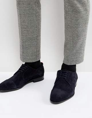 HUGO Dressapp Suede Lace Up Derby Shoes in Dark Blue