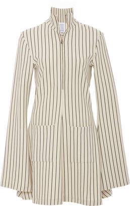 Rosie Assoulin Hans Yolo Pinstriped Tie-Detailed Turtleneck Mini Dress