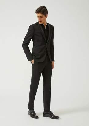 Emporio Armani Slim Fit Tuxedo Suit In Stretch Satin