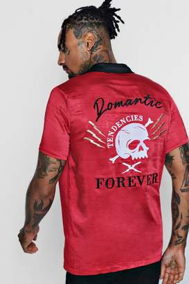 boohoo Skull Embroidered Revere Shirt