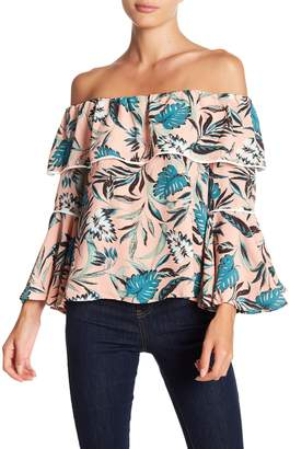 June & Hudson Off-the-Shoulder Floral Print Blouse