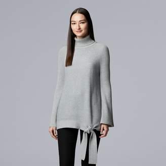 Vera Wang Women's Simply Vera Side-Tie Ribbed Turtleneck Sweater