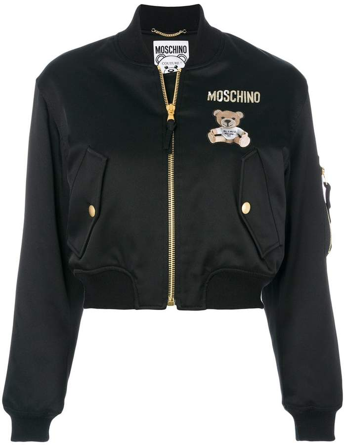 Moschino Teddy Bear cropped bomber jacket