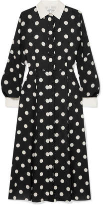 Andrew Gn Polka-dot Silk-georgette Dress - Black