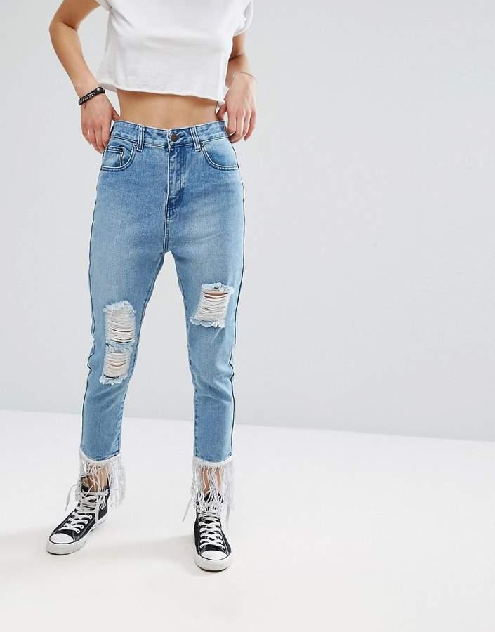 Liquor & Poker Slim Mom Jeans with Sequin Trim