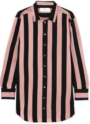 Marques Almeida Marques' Almeida Embellished Striped Satin-twill Shirt