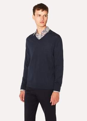 Paul Smith Men's Navy V-Neck Merino Wool Sweater