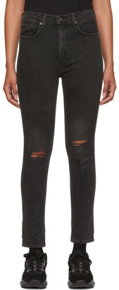 Rag & Bone Black Destruction High-Rise Ankle Skinny Jeans