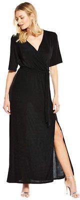 Wrap Over Slinky Maxi Dress in Black Size 8