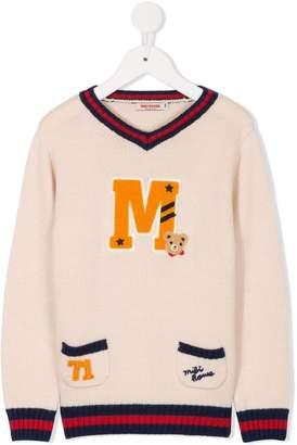 Mikihouse Miki House logo patch sweater