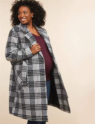 Motherhood Maternity Plus Size Button Front Wool Maternity Peacoat