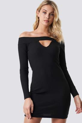 Anna Nooshin X Na Kd Off Shoulder Cut Out Ribbed Dress Black