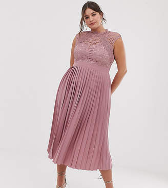8b34b196e4b5 Little Mistress Plus lace top midaxi dress with pleated skirt in blush