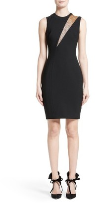Women's Versace Mesh Inset Sheath Dress $1,325 thestylecure.com