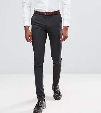 Asos Tall Super Skinny Smart Trousers In Charcoal