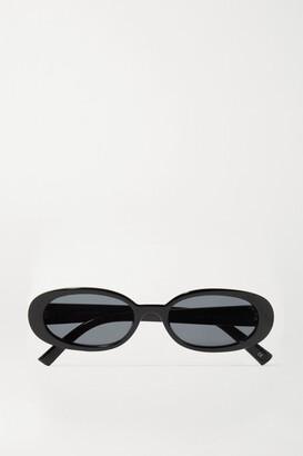 Le Specs Outta Love Oval-frame Acetate Sunglasses - Black